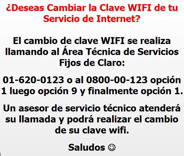 Solucionado: ¿Cómo cambiar la clave del wi-fi? - Comunidad Claro Perú